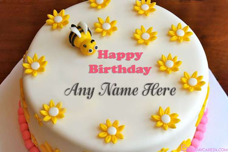 Write Name on Beautiful Bee Happy Birthday Cake