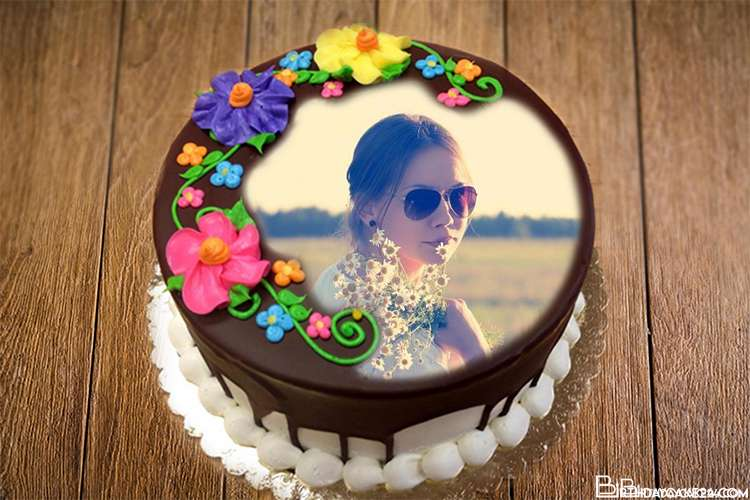 Happy Flower Chocolate Birthday Cake By Photo Online