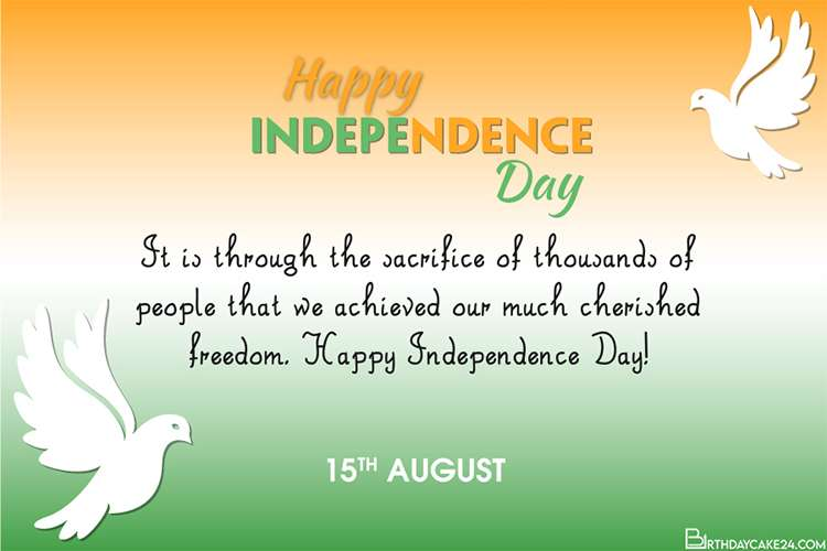 Free India Independence Day Card With Doves