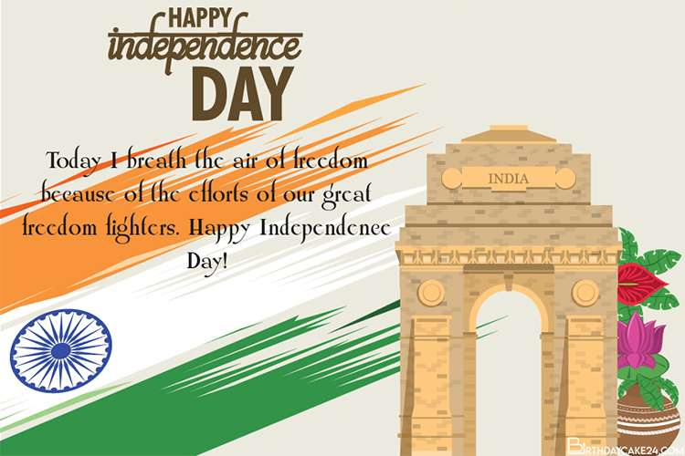 Colorful India Independence Day Card for 2021