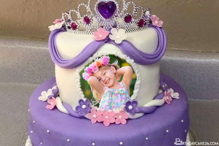 Lovely Princess Birthday Cake for Kid With Name and Photo
