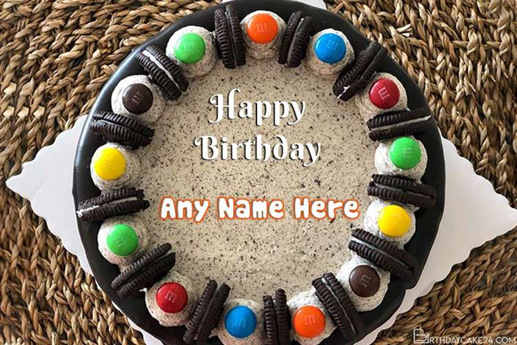 Chocolate Candy Cake For Happy Birthday Wish With Name