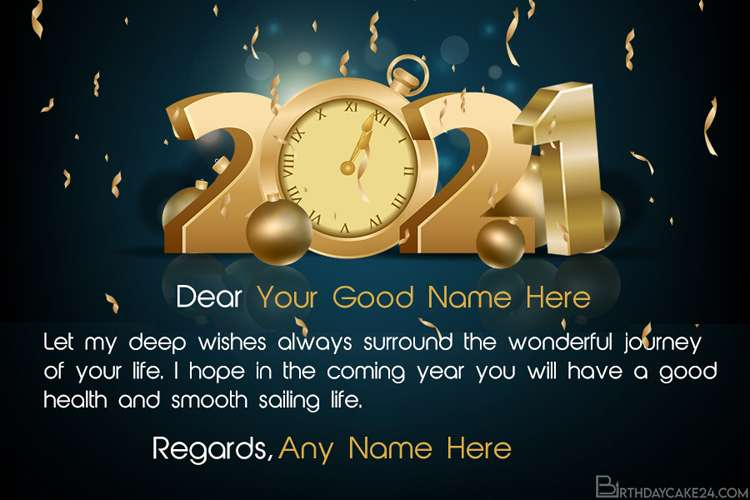 Write Name On Happy New Year 2021 Wishes Card