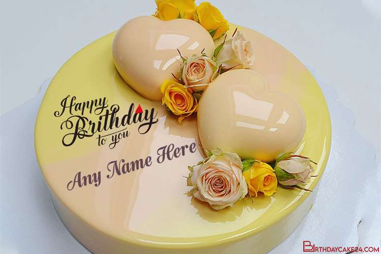 Yellow Flower Decorated Birthday Cake With Name