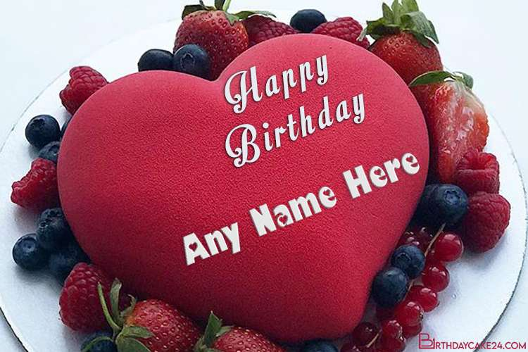 Happy Strawberry Red Velvet Birthday Cake With Name For Love