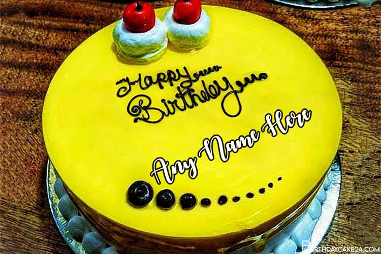 Yellow Color Birthday Cake For Friend With Name On It