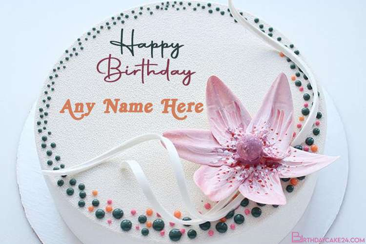 Write Name On Flower Vanilla Birthday Cake