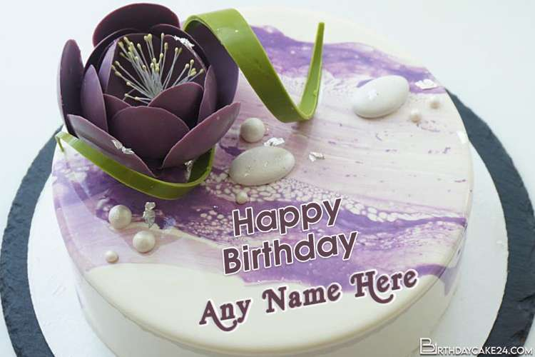 Purple Color Flower Birthday Cake For Mom With Name On It