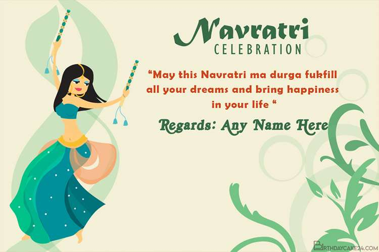 Happy Navratri Wishes Card With Name Generator