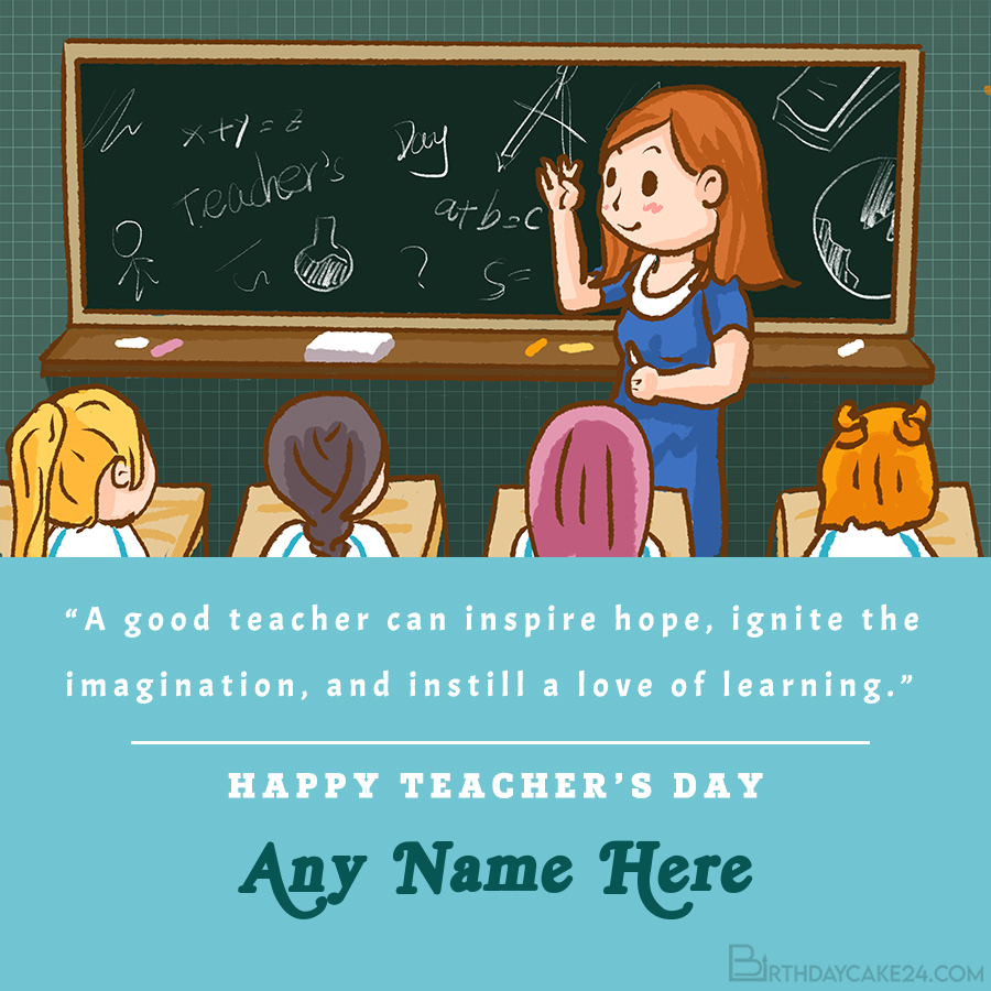 world teachers day card with name edit