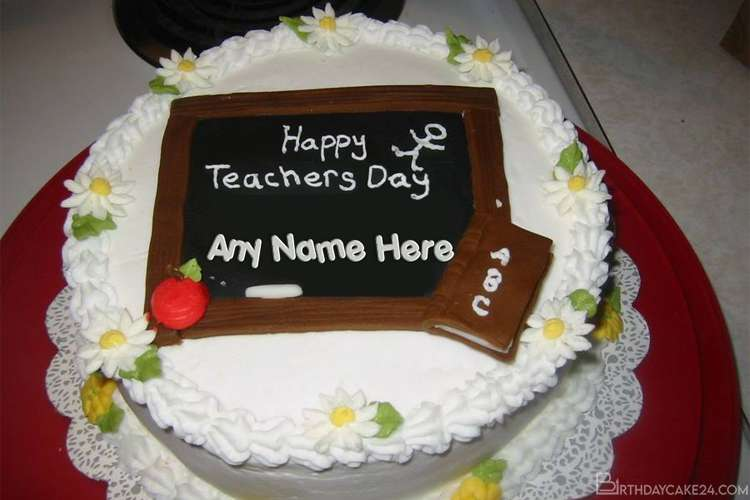 Happy Teacher's Day Cake With Name Generator