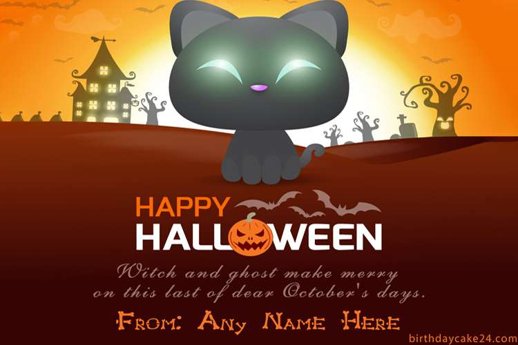 Spooky Halloween Greeting Card With Name Edit