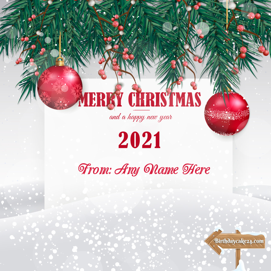 Merry Christmas & Happy New Year 3 Card With Name Edit