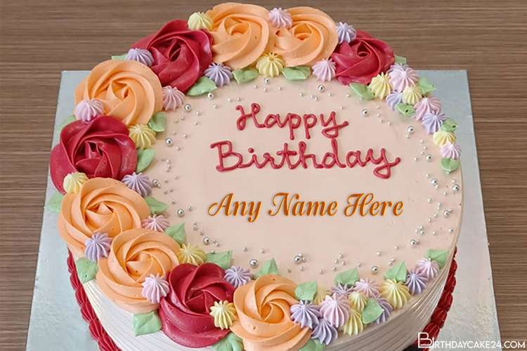 Write Name On Colorful Flower Happy Birthday Cake Images