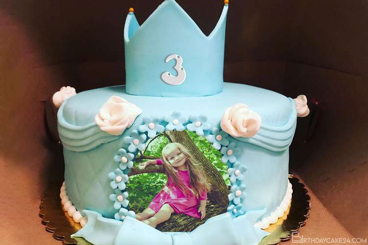 Blue Color Princess Birthday Cake With Name And Age