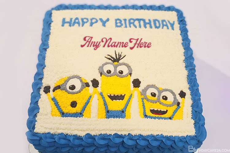 Happy Birthday Minions Cake With Name Generator
