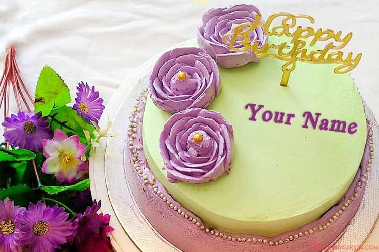 Purple Flower Birthday Wishes Cake With Your Name