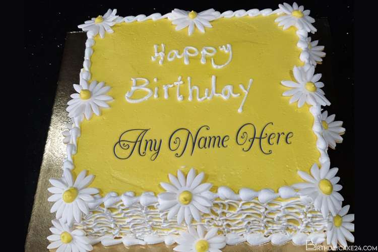 White Flowers Birthday Cake With Name Generator