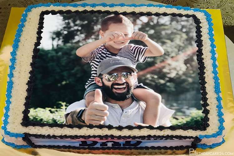 Happy Birthday Cake For Dad With Photo Frames