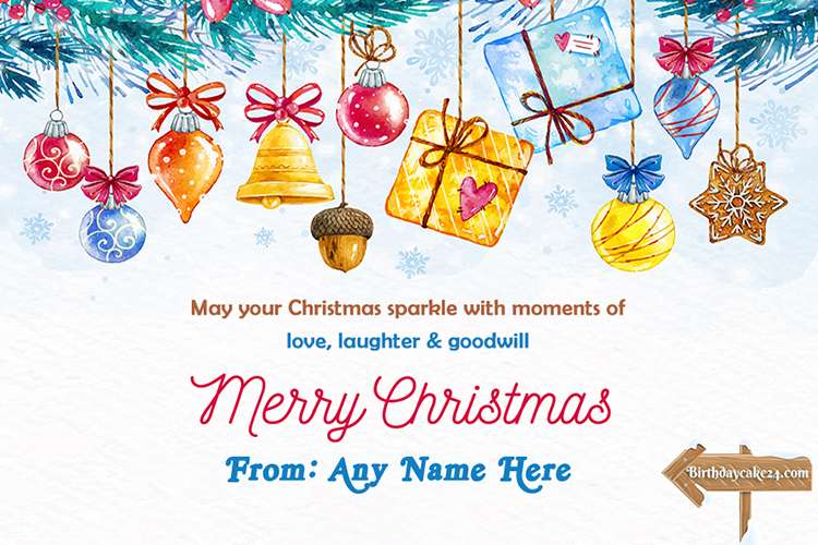 Christmas Greeting Card With Colorful Gift Box With Name Edit