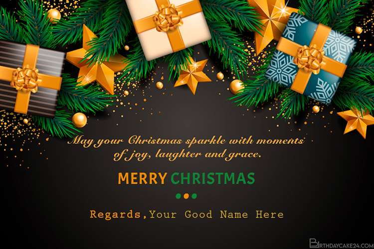 Write Names On Christmas Cards With Colorful Gift Boxes