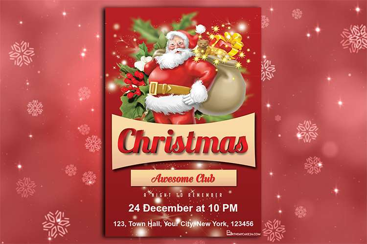 Santa Claus Christmas Party Invitation Free Download