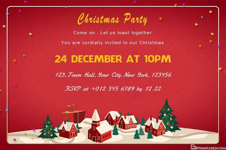 Free Online Christmas Party Invitations Card