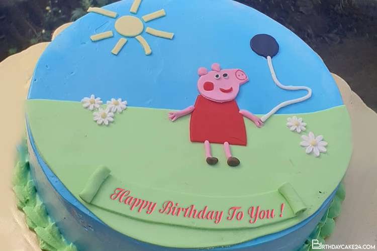 Peppa Pig Happy Birthday Wishes  Cake With Name