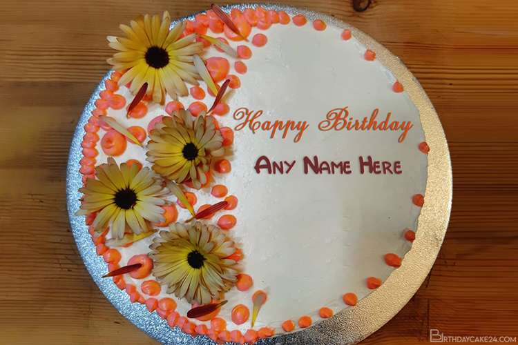 Write Your Name On Flower Birthday Wishes Cake Online