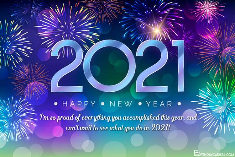 New Year Colorful Fireworks Card for 2021