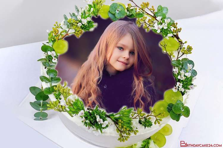 Green Nature Birthday Cake With Your Photo Frame