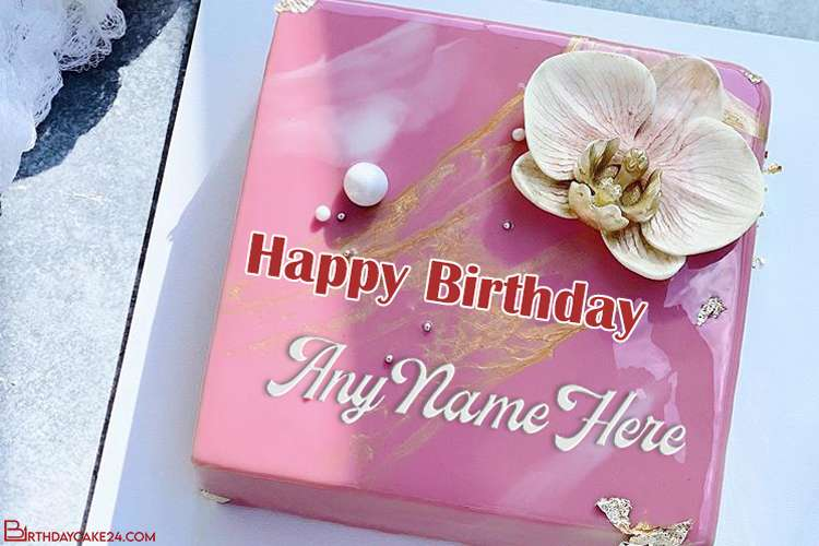 Lovely Flower Decorated Pink Birthday Cake With Name Edit