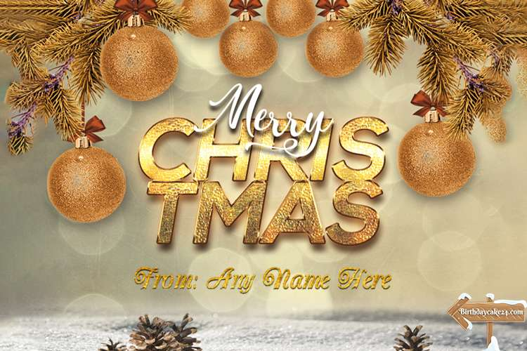 Golden Christmas Wishes Card With Name Editing