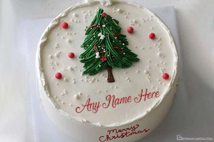Christmas Tree Wishes Cake With Name Editing
