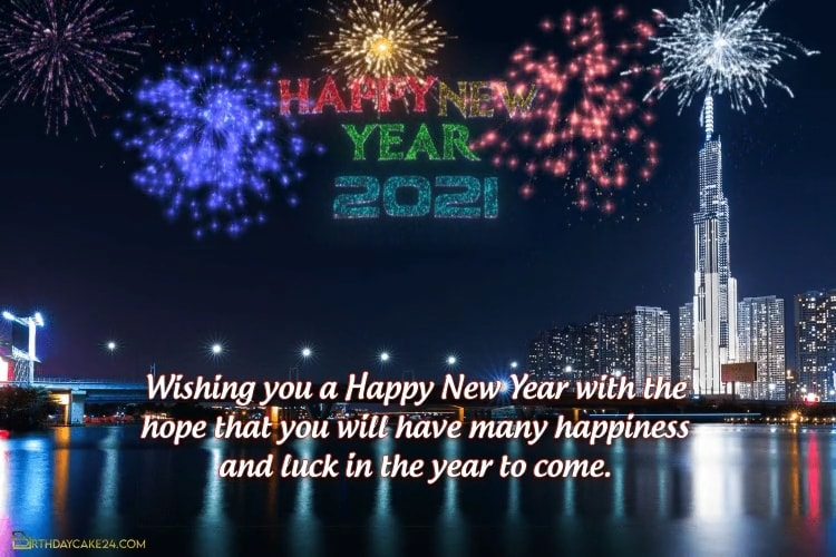 New Year 2021 Video Card With Colorful Fireworks Background