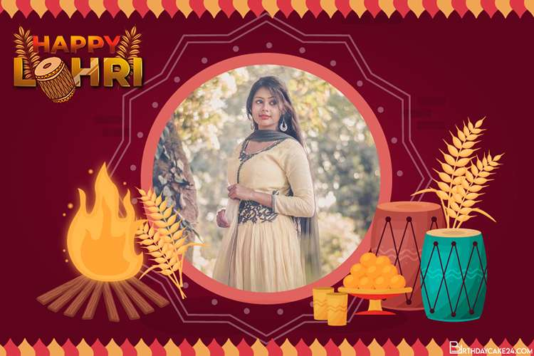 Happy Lohri 2021 Card With Photo Frames