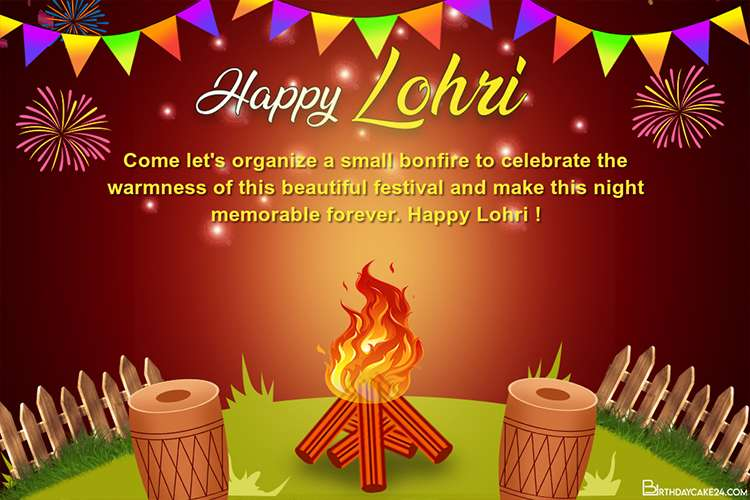 Beautiful Lohri Festival Wishes Cards Maker Online