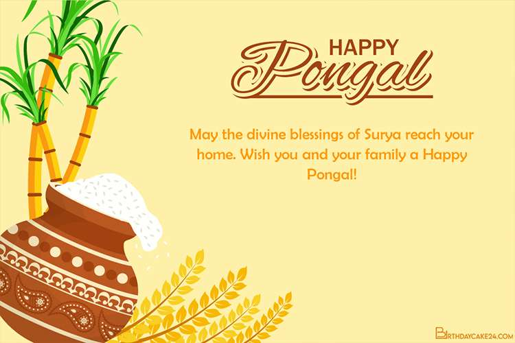 Happy Pongal Greeting Card With Pongali Rice In Mud Pot