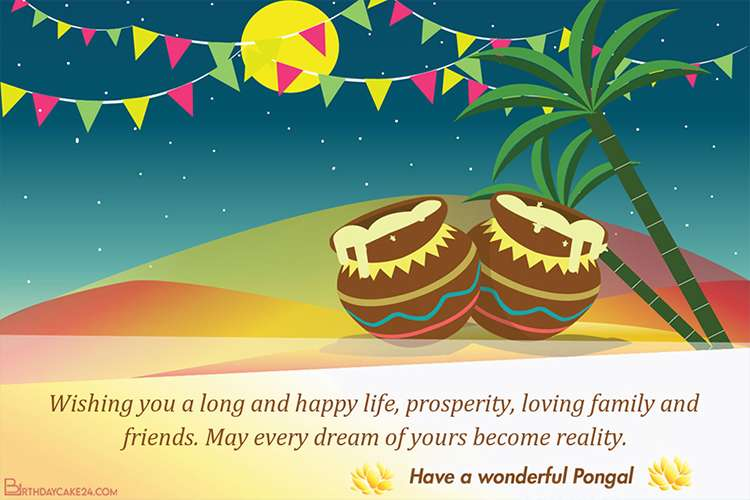 Write Wishes On Happy Pongal Greeting Cards For Free