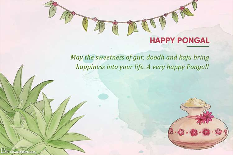 Watercolor Pongal Greeting Wishes Card Maker Online