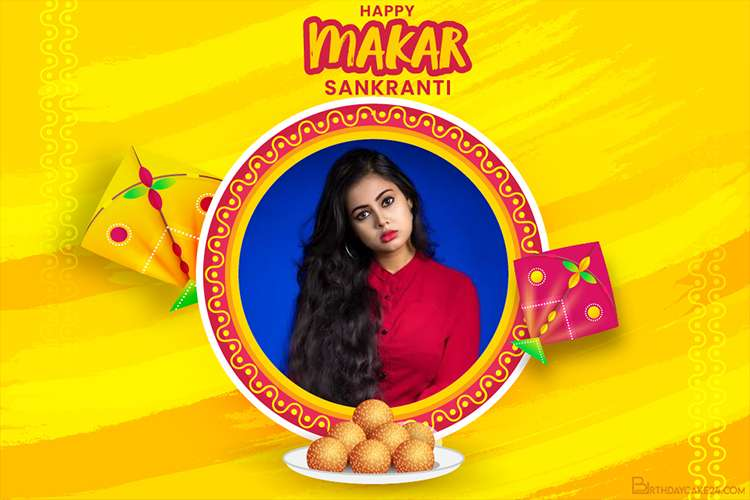 Happy Makar Sankranti 2021 Card With Photo Frames Free Download