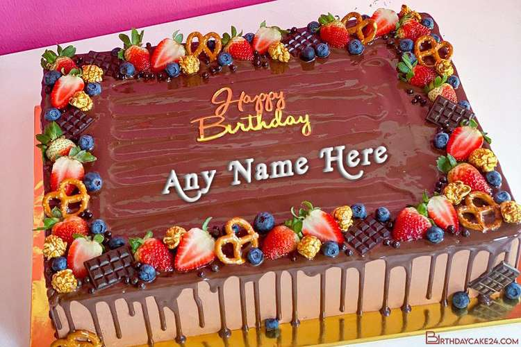 Fresh Fruit Chocolate Birthday Wishes Cake With Name