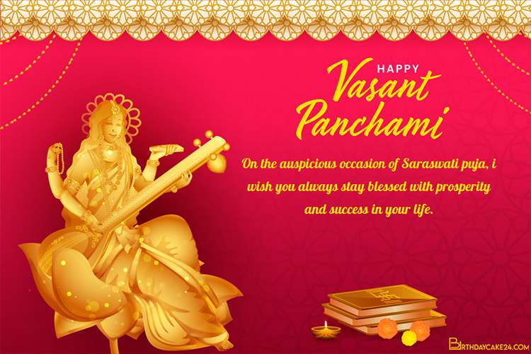 Golden Sculpture Goddess Saraswati Greeting Card