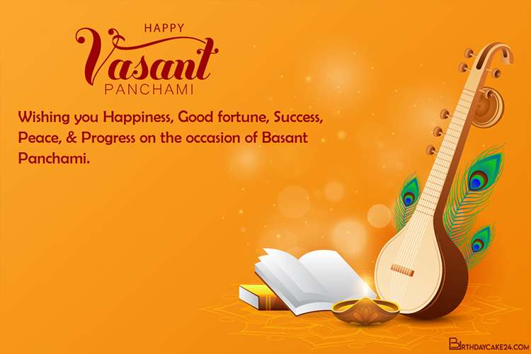 Make Vasant Panchami Greeting Card 2021 Free Download