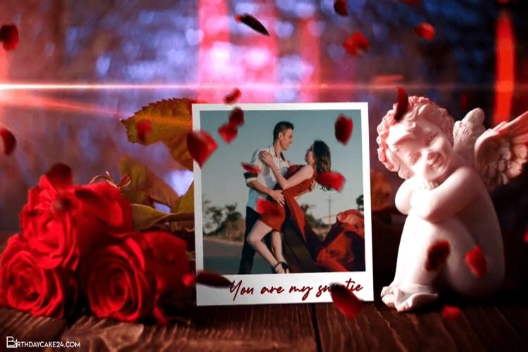 Valentine Video Photo Frame With Romantic Falling Rose Petals