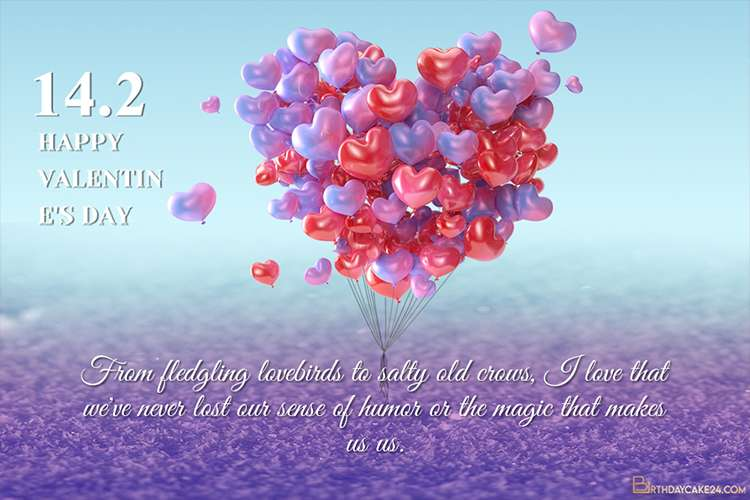 Blue Purple Love Balloon Valentines Day Card With Wishes