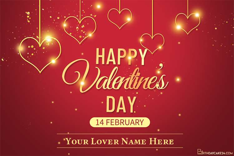 Sparkling Valentines Day Card With Name Generator