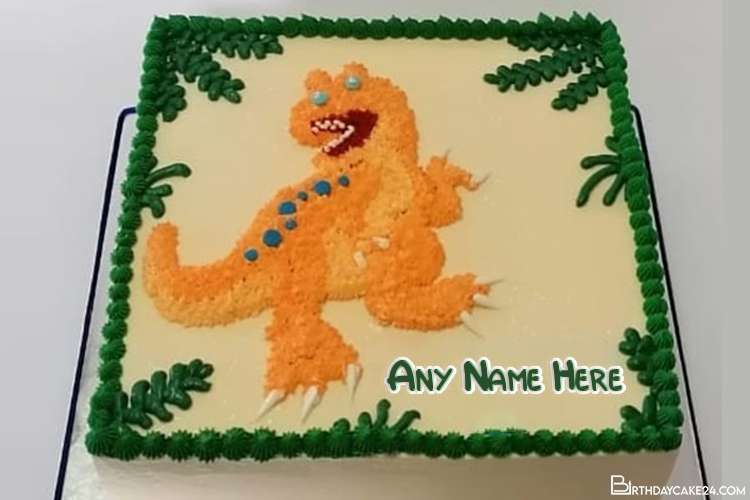Dinosaur Birthday Cake For Kids With Name Editing