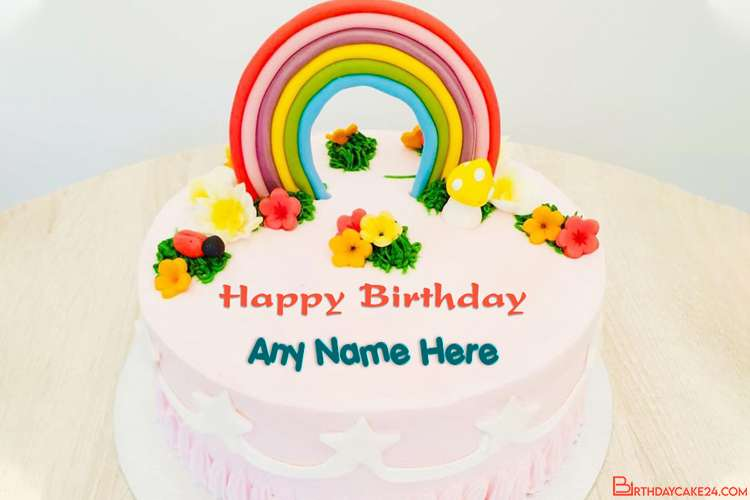 Beautiful Happy Rainbow Cake For Kids Birthday With Name
