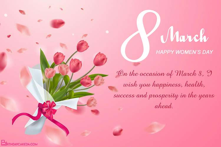 Sharing International Women's Day Greeting Card With Tulip Background